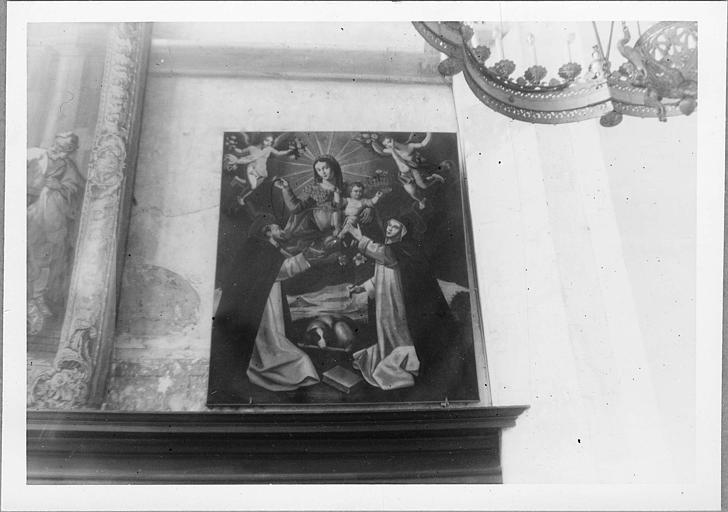 Tableau : 'Sainte Catherine de Sienne et saint Dominique recevant le Rosaire des mains de la Vierge et de l'Enfant', huile sur toile