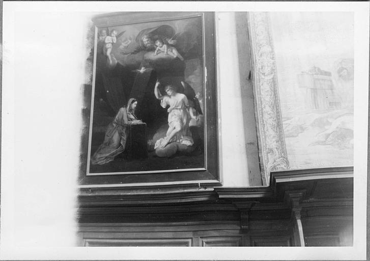 Tableau : 'L'Annonciation', huile sur toile ; après restauration