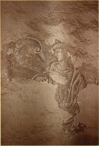 Peinture monumentale : escalier, personnage masculin accompagné par un phylactère