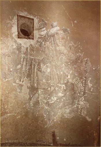 Peinture monumentale : escalier, détail du drapé d'un personnage