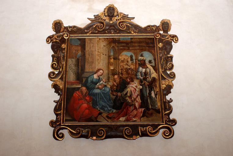 Tableau : L'Adoration des Mages, vue d'ensemble avec le cadre