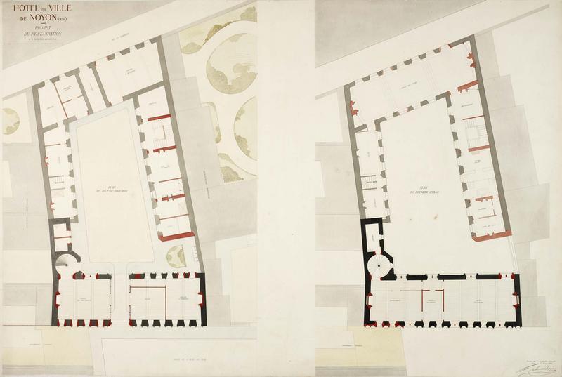 Plan du rez-de-chaussée, plan du premier étage, projet de restauration