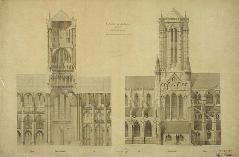 Coupe longitudinale, façade latérale du choeur et de la nef