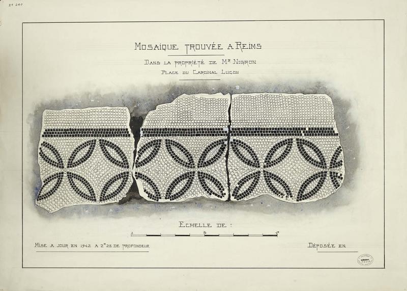 Mosaïque romaine trouvée en 1924 : plan avec indication des matériaux utilisés