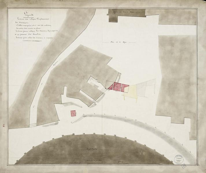 Plan des abords de l'amphithéâtre avec indication de la mosaïque et indication des parties à acquérir et à démolir