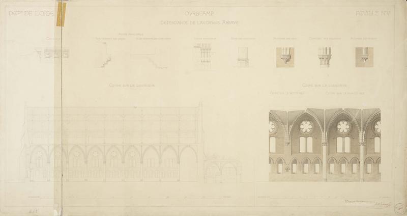 Dépendance de l'ancienne abbaye : coupes sur la longueur, détails