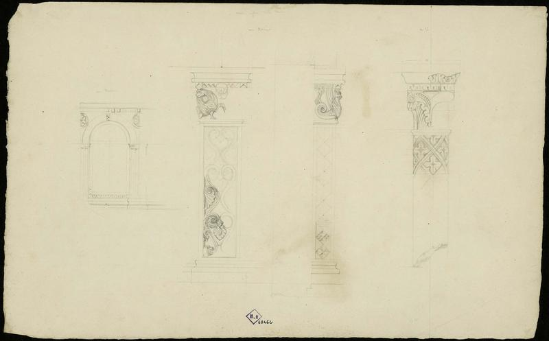 Détails des pilastres de la maison en face de Notre-Dame, détails d'une fenêtre se trouvant dans le mur d'une maison moderne