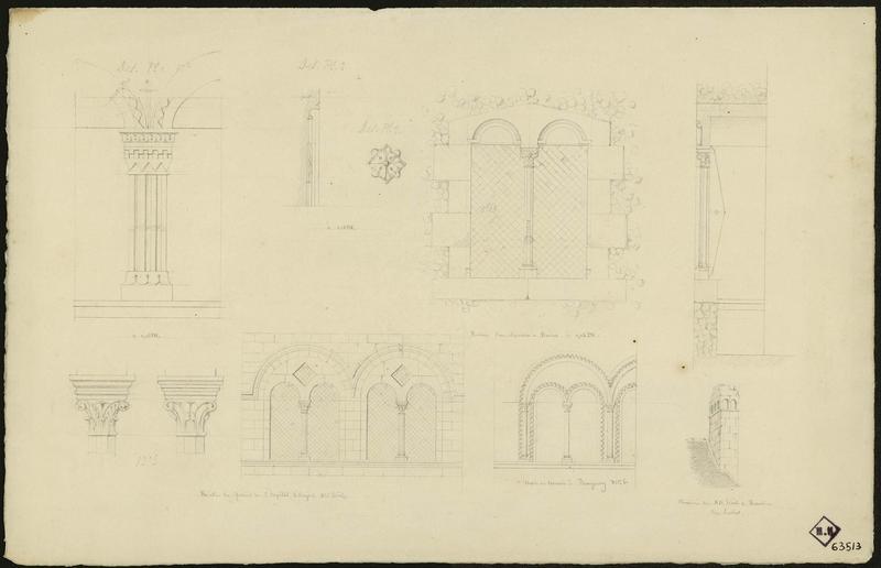 Détail d'une fenêtre géminée comparée à des fenêtres du même type : hôpital d'Angers, maison romane à Beaugency, cheminée XIIème à Beaulieu les Loches