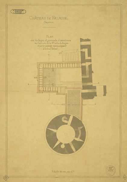 Plan des dallages et parapets à construire dans la deuxième salle du donjon
