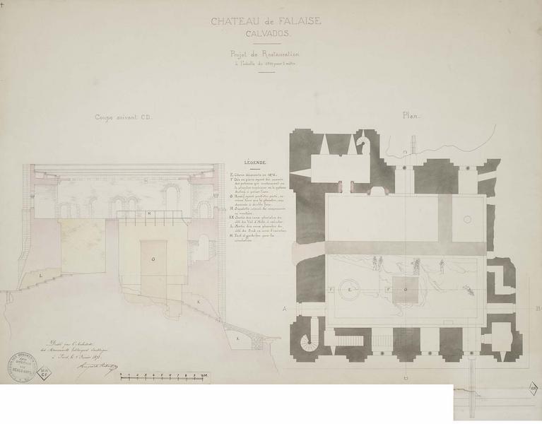 Restauration de l'édifice : plan et coupe