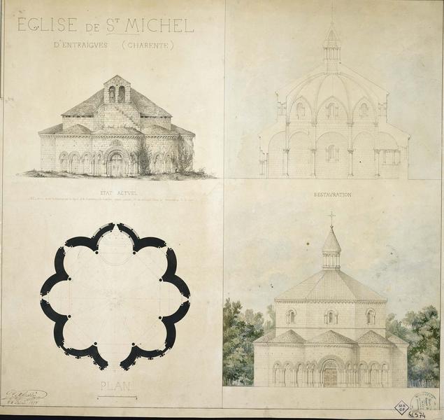 État actuel et restauration. Élévations de la façade principale. Coupe. Plan