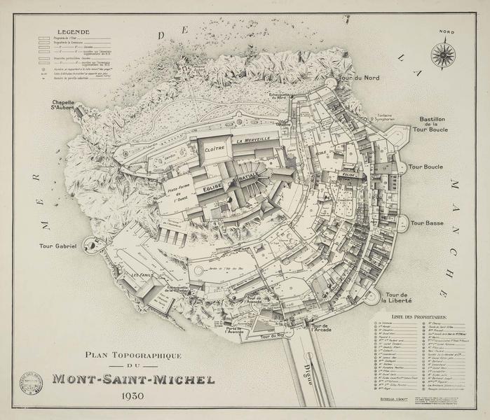 Plan topographique avec la liste des divers propriétaires