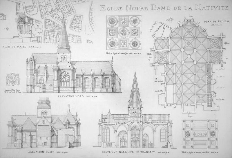 Plan de masse, plan de l'église, élévation nord, élévation ouest, coupe sud-nord sur le transept, détails
