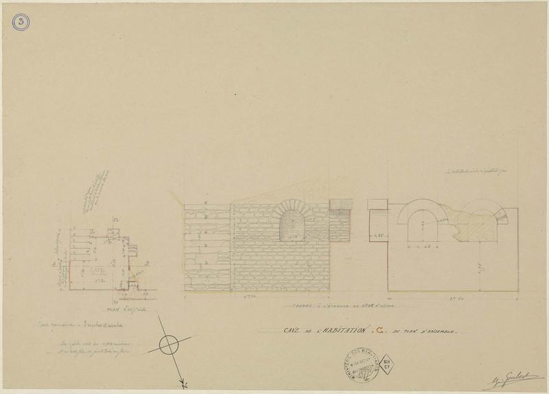 Cave de l'habitation C du plan d'ensemble. Plan et coupes