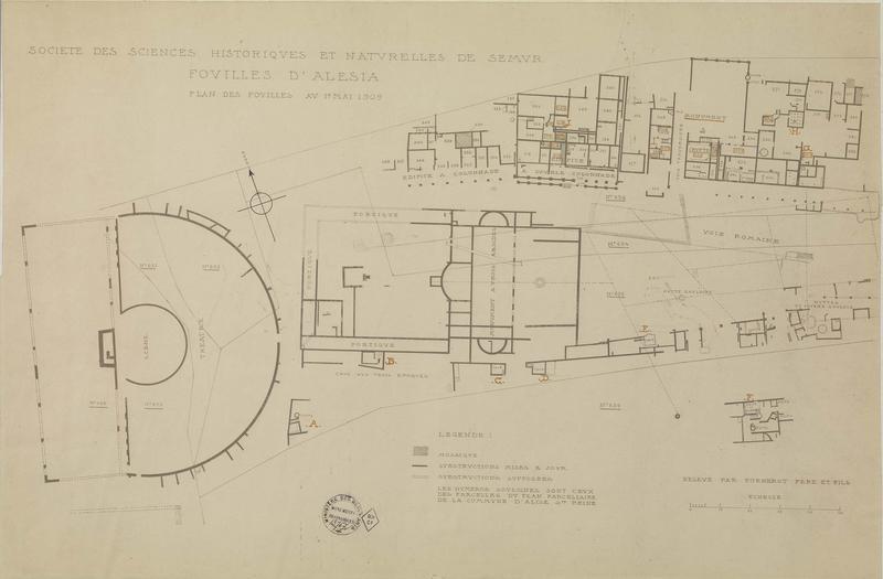 Plan des fouilles au 1er mai 1909