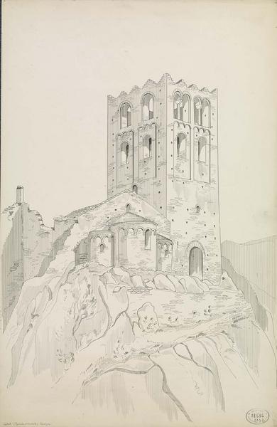 Vue perspective du chevet de l'église et de la tour