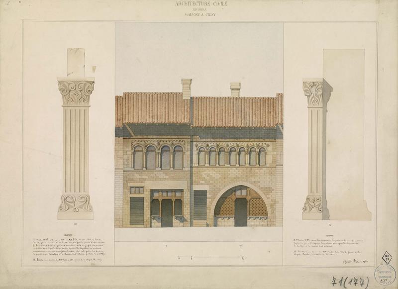 Élévation des façades et détails des piliers