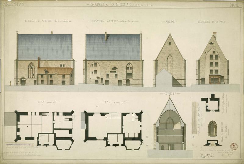 Deux plans à des niveaux différents : plan du second étage de la tourelle d'angle, élévations des façades, coupe et détails ; Plan et élévation de la piscine