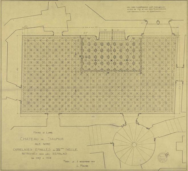 Plan des carrelages émaillés du XIVème siècle retrouvés sous les remblais de 1907 à 1908