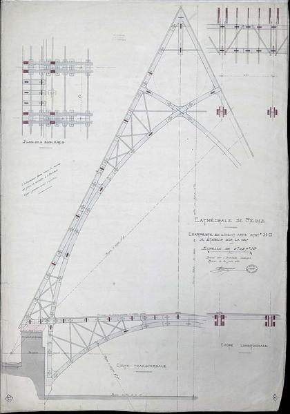 Charpente en ciment armé à établir sur la nef, coupe longitudinale, coupe transversale, plan
