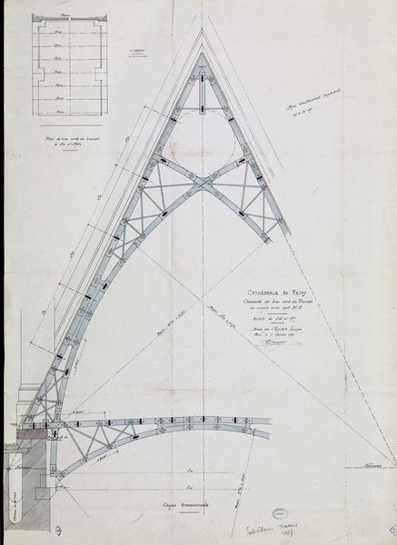Charpente du bras nord du transept en ciment armé, plan, coupe transversale