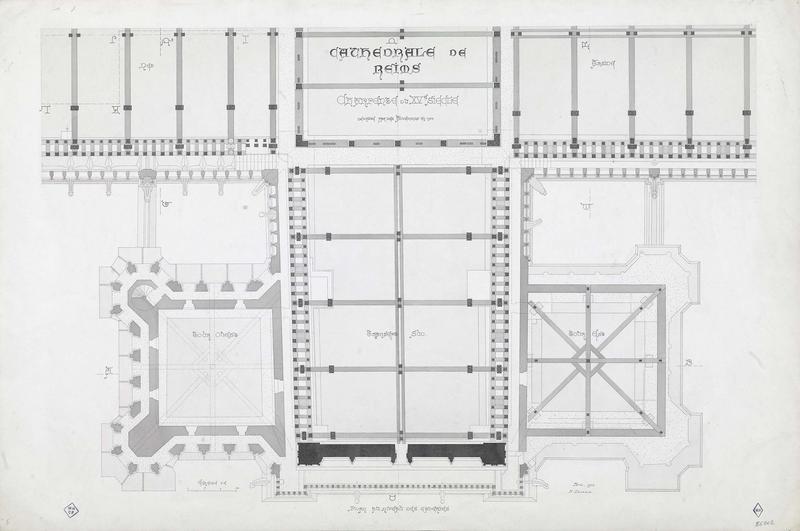 Charpente du XVème siècle, plan au niveau des galeries