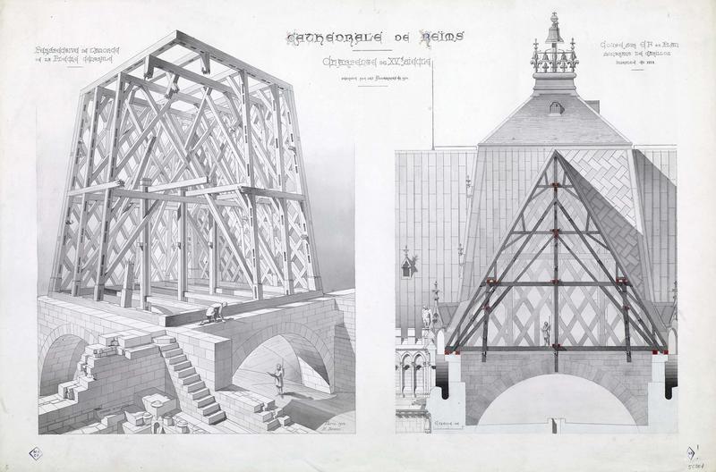 Charpente du XVème siècle, perspective flèche centrale, coupe