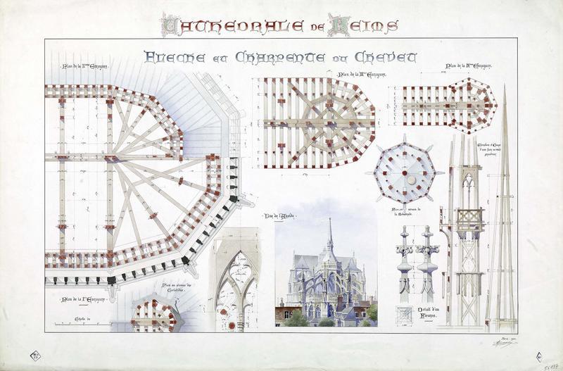 Flèche et charpente du chevet, plans des enrayures, des cariatides, vue abside