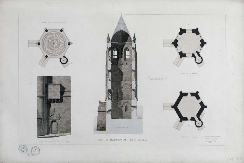 Coupe de la tour, porte d'entrée, plans. Projet de restauration
