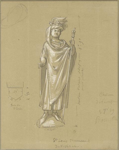 Statue de Saint-Louis pour le trumeau de la porte du vestibule de l'escalier de l'aile nord-est