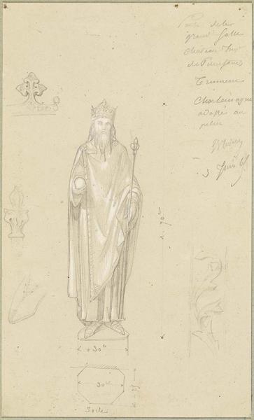 Statue de Charlemagne pour le trumeau central de la porte de la salle des Preux au premier étage de l'aile nord-ouest