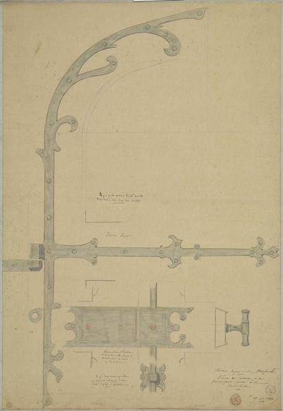 Serrureries des vantaux de la porte centrale de la salle des Preux au premier étage de l'aile nord-ouest
