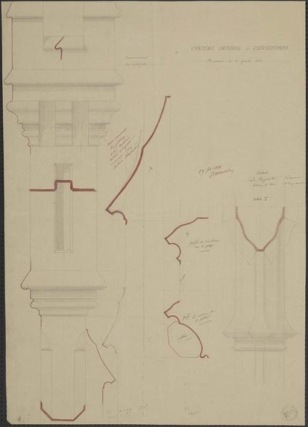Détail de la menuiserie de la grande porte de la salle des Preux donnant dans la tour Alexandre