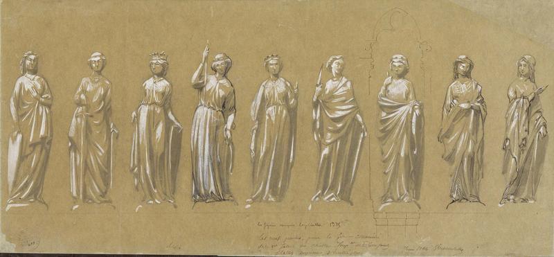 Cheminée des Preuses de la salle des Preux au premier étage de l'aile nord-ouest, statue des neuf preuses