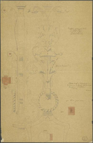 Cheminée de la salle des Preux, détails des landiers de la cheminée