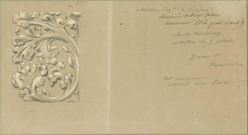 Cheminée des Preuses de la salle des Preux au premier étage de l'aile nord-ouest, détails des voussures des niches