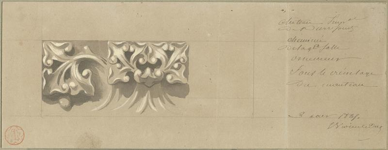 Cheminée des Preuses de la salle des Preux au premier étage de l'aile nord-ouest, détail du décor sous le crénelage de la cheminée