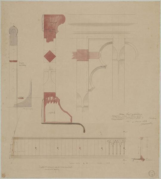 Lambris de la salle des Preux au premier étage de l'aile nord-ouest, plan, élévation, coupe