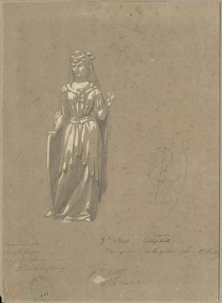 Cheminée des Preuses, statue de Sémiramis, cinquième preuse