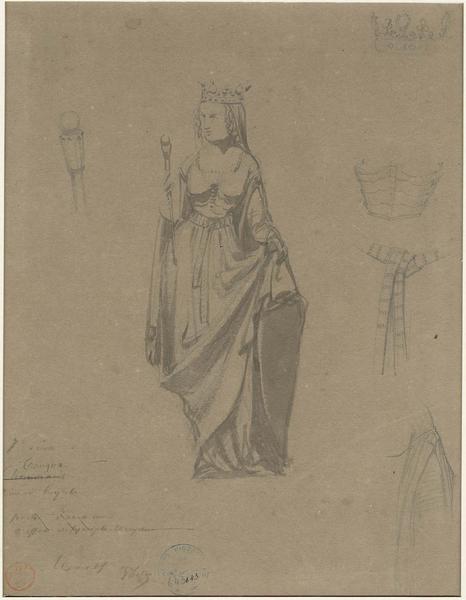 Cheminée des Preuses de la salle des Preux au premier étage de l'aile nord-ouest, statue de Tancqua, reine d'Égypte, détails du costume