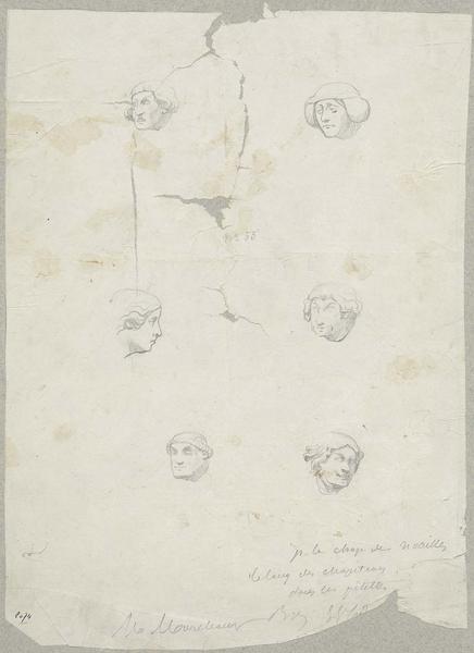 Choeur nord, chapelle Saint-Louis dite de Noailles, six têtes humaines