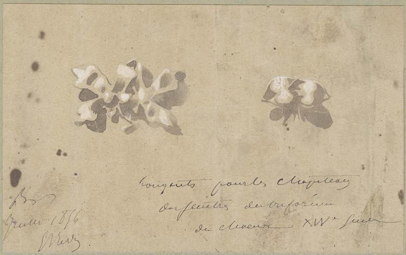 Choeur, deux bouquets pour les chapiteaux des fenêtres du triforium