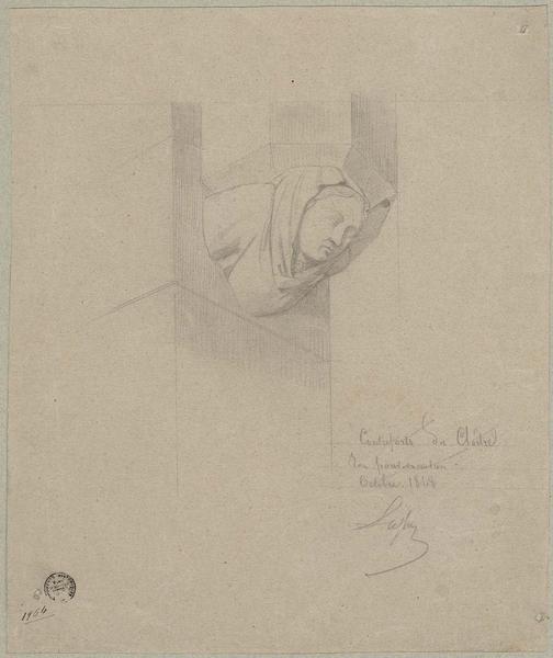Sacristie, cloître, cul-de-lampe pour les contreforts