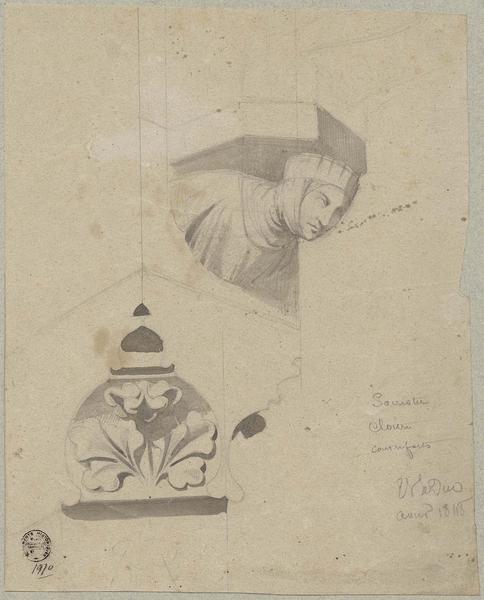 Sacristie, cloître, cul-de-lampe et console pour les contreforts