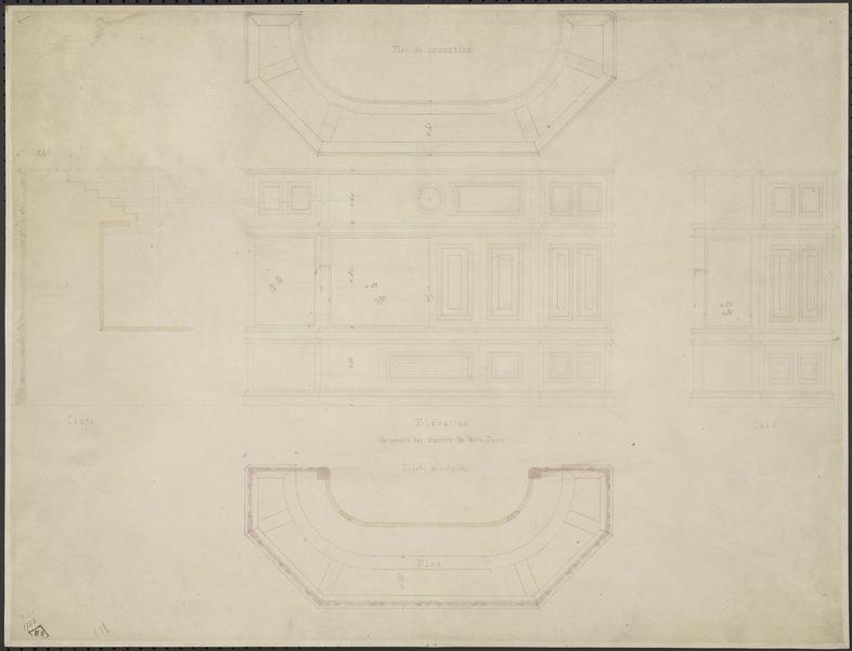 Nef ; Meuble des claviers de l'orgue, plan, élévation frontale et latérale, plan du couvercle