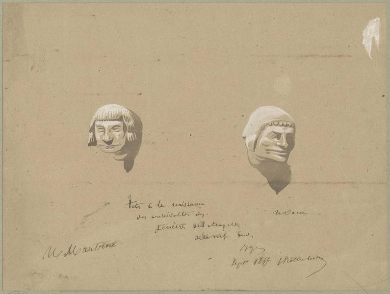 Façade sud, têtes d'amortissement à la naissance des archivoltes des fenêtres des chapelles de la nef