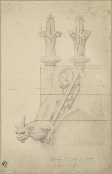 Façade ouest, fleuron animal fantastique pour le couronnement des contreforts des tours