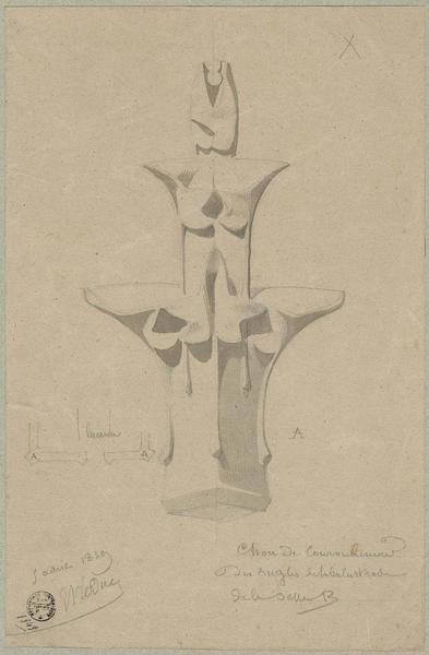 Sacristie, chou de couronnement des angles de la balustrade de la salle B
