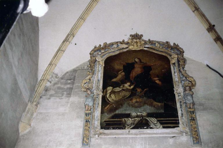 tableau : L'Assomption de la Vierge, huile sur toile, cadre sculpté et peint