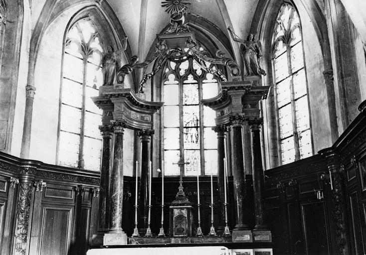 Maître-autel, marbre, bois doré, 1742